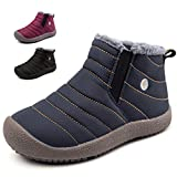 KVbaby Winter Snow Boots Slip-on Water Resistant Booties Boy's Girl's Anti-Slip Lightweight Ankle Boots Full Fur
