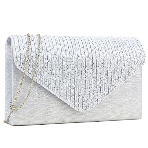 Dasein Ladies Frosted Satin Evening Clutch Purse Bag Crossbody Handbags Party Prom Wedding Envelope (Silver)