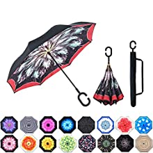 MasterCanopy Inverted Umbrella,Double Layer Reverse Windproof Teflon Repellent Umbrella for Car and Outdoor Use, UPF 50+ Big Stick Umbrella with C-Shaped Handle and Carrying Bag, Burgundy Feather