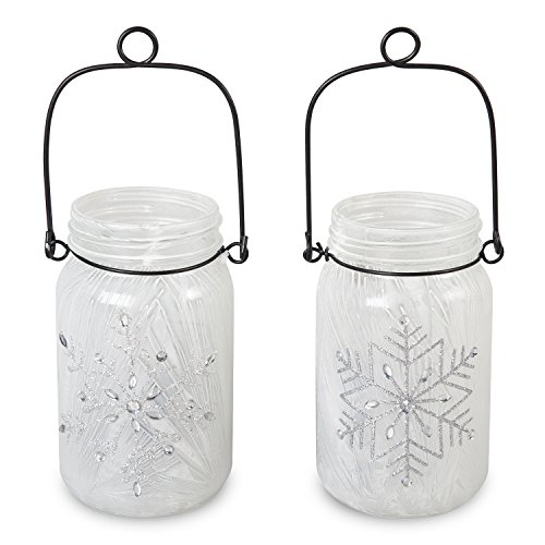 LED Hanging Lantern Snowflake Glass Mason Jar Decorative Light Tabletop Home Décor by CYPRESS, Set of (Decorate Mason Jars For Halloween)