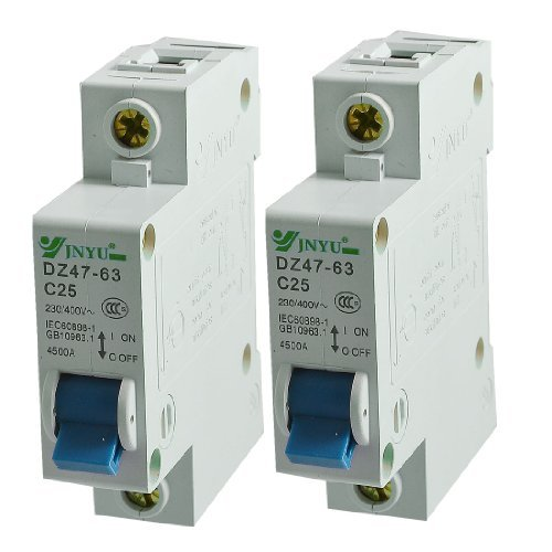 DealMux 2個DINレールマウント1極サーキットブレーカAC 230V / 400V 25A B073W42BQP
