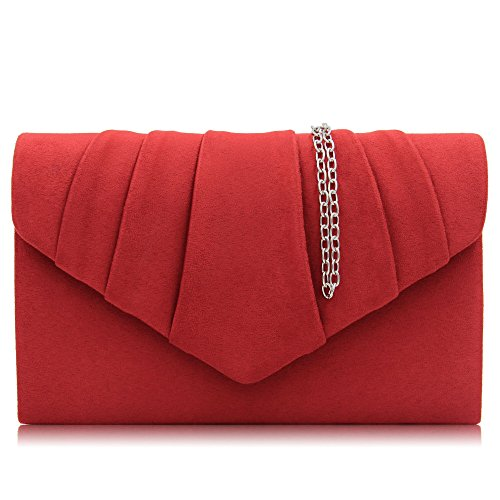 Milisente Women Evening Bag Velvet Pleated Clutch Purse Envelope Clutches (Red)