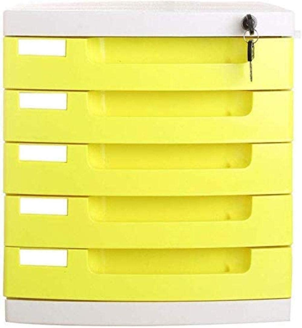 ファイルキャビネット ファイルCabinetss家のための5つの引き出しデータロックオフィスストレージ・キーは、ストレージボックスをロック - マルチカラー29.5X39.4X32.5cm オフィス用品 (Color : Yellow)