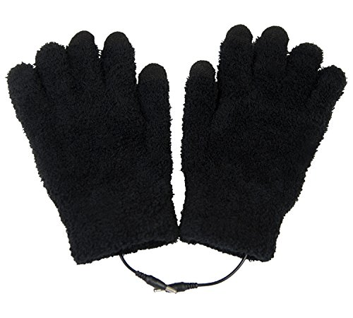 ObboMed MH-1025 Touchscreen USB 5V Composite Heating Element Warming Full Finger Stretchy Gloves–Connect to USB Port,PC,Laptop, Adapter for Power– can use on Cell Phone, iPad – 9''x5.9'' by ObboMed