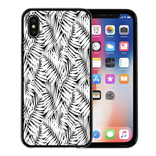 Emvency Phone Case for Apple iPhone Xs Case/iPhone X Case,Leafs Inspired by Tropical Nature and Plants Like Palm Soft Rubber Border Decorative, Black (California Palms Canopy)