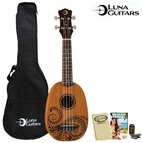 Luna Guitars UKE-TATTOO Soprano Ukulele with Tuner, Gig Bag, Cloth and Instruction - Shape Ukulele
