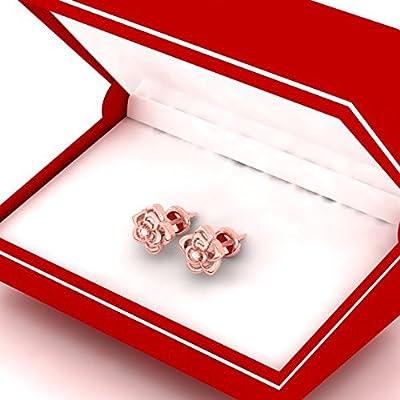 0.02 Carat (ctw) 14K Gold Round Cut White Diamond Ladies Flower Shaped Stud Earrings by DazzlingRock
