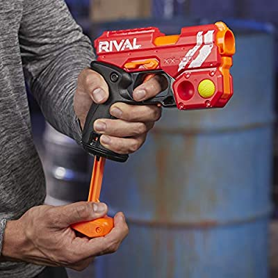 NERF Rival Knockout XX-100 Blaster -- Round Storage, 90 FPS Velocity, Breech Load -- Includes 2 Official Rival Rounds -- Team Red: Toys & Games