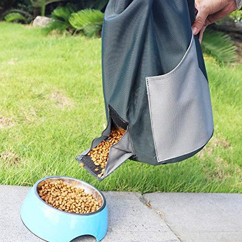 V.JUST Portable Dog Treat Pouch Foods Bag Foldable Pet Dog Cat Feeder Grain Storage Barrel Lightweight Barrel for Travel or Outdoor Pet Sepplie,Gray