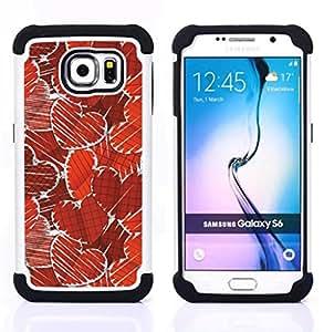 - Paper Heart Pattern/ H??brido 3in1 Deluxe Impreso duro Soft Alto Impacto caja de la armadura Defender - SHIMIN CAO - For Samsung Galaxy S6 G9200