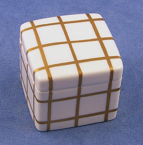 Limoges Gold Checkered Cube -