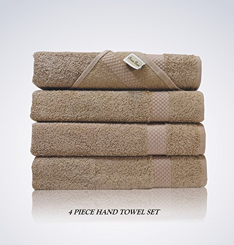Rose Bed Packs - Lint Free 4 Piece Turkish Hand Towel Set Clearance Prime Kitchen Bathroom (Bulk Pack of 4) 450 GSM Quick Dry Off Premium Cotton, Spa Hotel Quality Luxury Reserve Designer 2018 Collection Bundle Brown