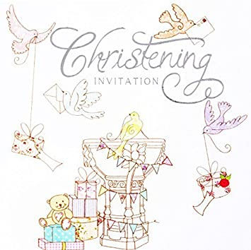 Schön SIMON Elvin 6 Taufe Einladung Karten U2013 Pastell Birds Schriftart Teddies  Design U2013 Pack Von 6