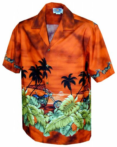 Island Chopper - Boys Hawaiian Aloha Shirt - Rust - Large - Island Aloha Shirt