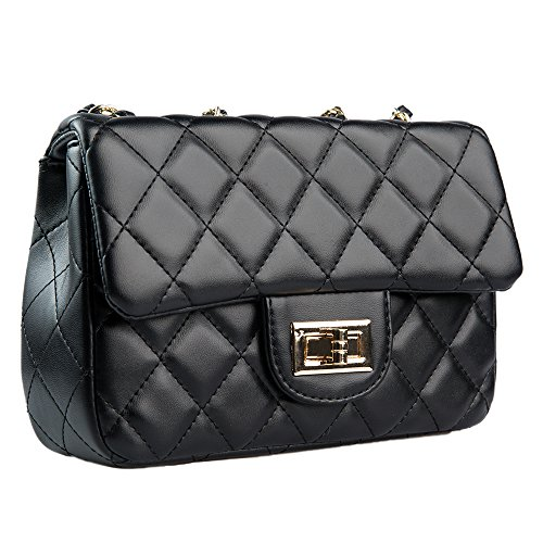 (YLGAN Women Quilted Crossbody Bag Girls Side Purse and Shoulder Handbags Designer Clutch with Chain)