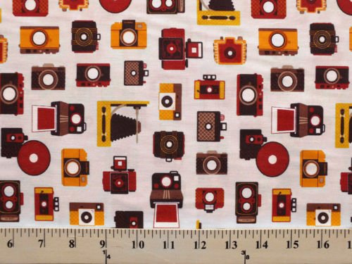Camera Cameras on White Novelty Photography Cotton Fabric Print by the Yard (ACY-12964-14) (Print Novelty Cotton Fabric)