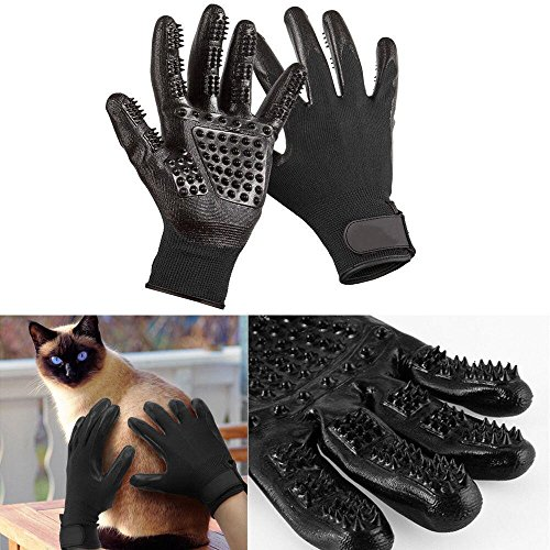 Deeloki Dog Grooming Glove, Pet Cat Gloves Hair Removal Mitt Best Grooming Tools Hair Brush for Dogs Cats Horse Bathing,Shedding and Massage, Medium Size
