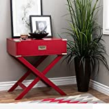 ModHaus Living Modern Wood Accent X Base Nightstand Campaign Sofa Table Rectangle Shaped with Storage Drawer – Includes Pen (Red) For Sale