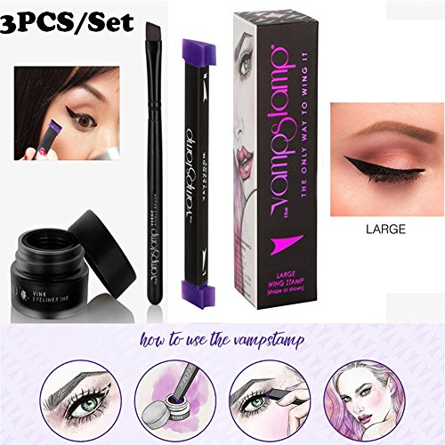 KNOWSTAR Eyeliner Stamp Set 3 In 1 Drawing Eyeliner Tool Easy Use Eyeliner Liquid Large