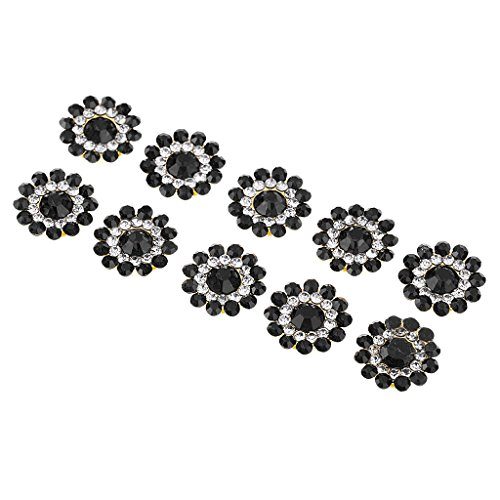 Metal Flower Buttons (MonkeyJack Hot Crafting Flatbacks Faux Pearl Rhinestone Alloy Round Boutique Embellishments - Black, as described)
