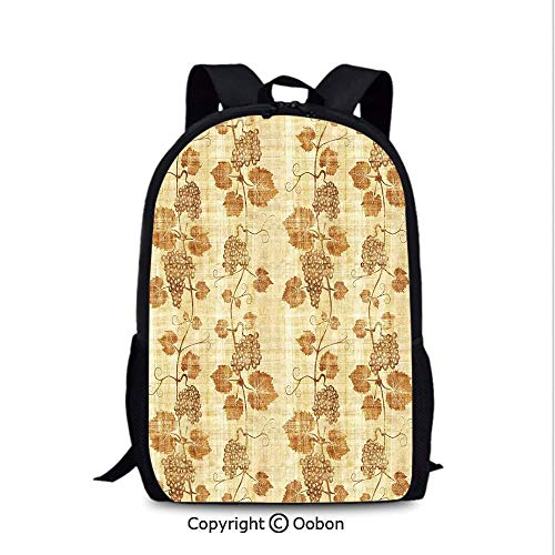 Women's Anti Theft Backpack, Cuisine Figure on Ancient Egyptian Papyrus Parchment Aged Crumpled, School Bag :Suitable for Men and Women, School, Travel, Daily use, etc.Cream