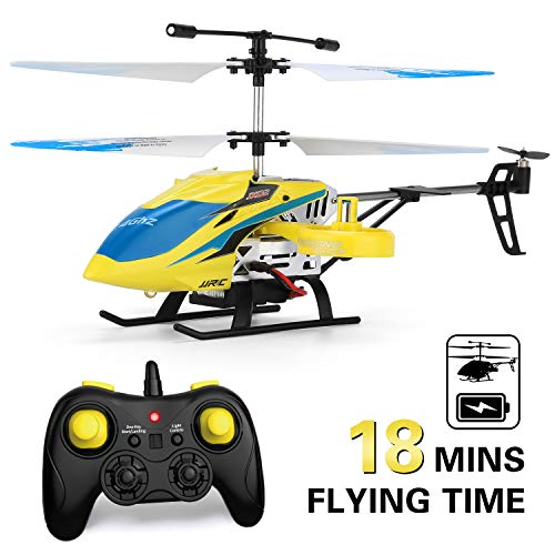 JJRC Helicopter with Remote Control, JX02 Helicopter 4 Channel with Side Propellers for Fly Sideway Altitude Hold with 3 Batteries in 18 Minutes Crash Resistance RC Toy Helicopter Gift (Yellow)