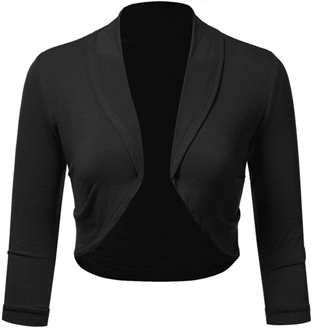 iYmitz Damen/ Plus Gr/ö/ße Solide Bolero Shrug Open Front beschnitten Mini Office Work Cardigan