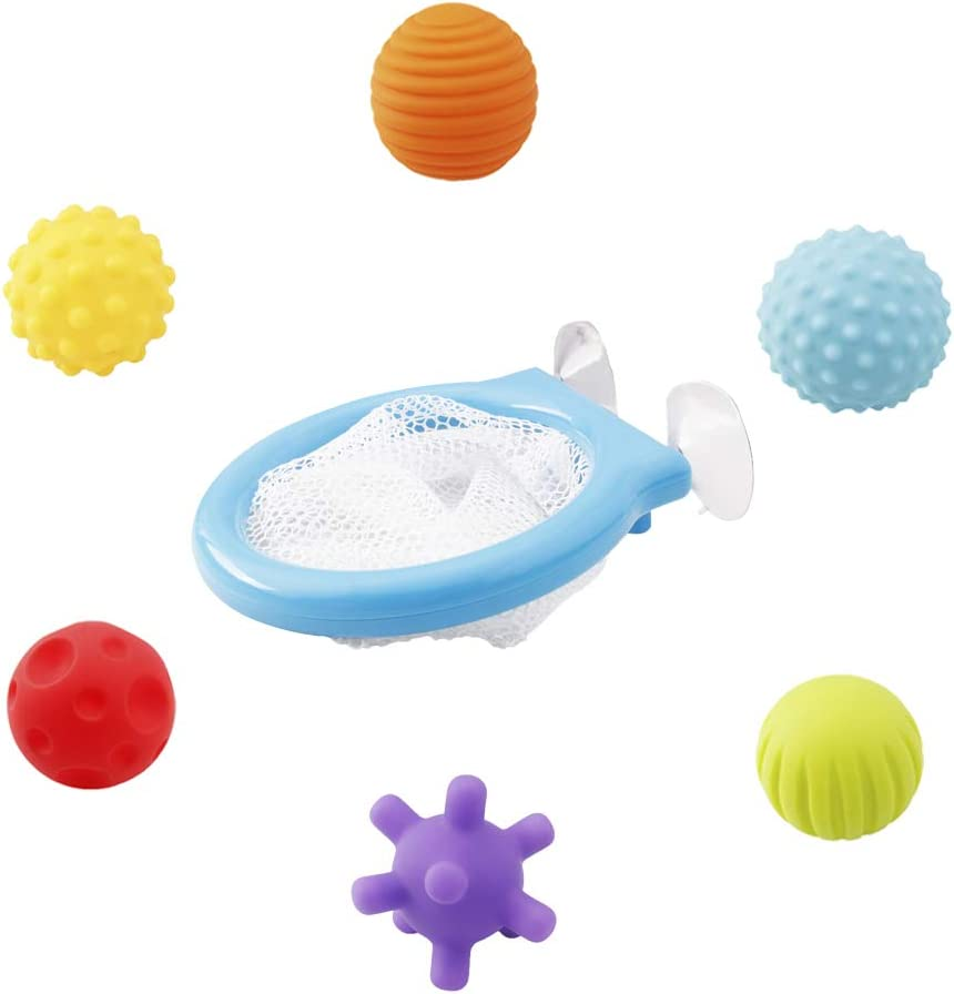 7 Pcs Multi Balls and Basketball Hoop Set Bathtub Floating Squeeze Toys with Suction Cups and Storage Box for Baby Toddlers Kids Boys and Girls WISHTIME Textured Sensory Ball Bath Toy