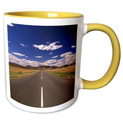 3dRose Danita Delimont - Scenic Roadways - Namibia, Rehoboth, Highway 81, Tropic of Capricorn-AF31 WBI0027 - Walter Bibikow - 11oz Two-Tone Yellow Mug - Outlets Rehoboth De