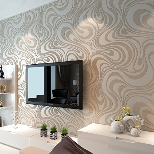 HANMERO Modern Minimalist Abstract Curves Glitter Non Woven 3d Wallpaper For Bedroom Living Room Tv Backdrop Cream White Silver