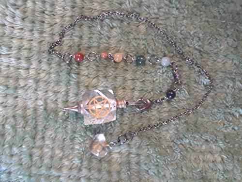 Polyhedron-Shaped Pentacle Pendulum with Chakra Stones & Heart ()