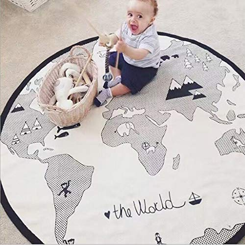 (Efaster 53.15 Inches Adventure World Map Pattern Baby Crawling Mats Game Blanket Floor Playmats Infant Activity Round Rug Game Racing Mat Cotton Kid Crawling Carpet Bed Stroller Blanket (Gray))