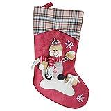 nanzhushangmao Christmas Stocking Bulk, Xmas Character 3D Plush Plaid Cuff Christmas Decorations Party Accessory Candy Socks Bag (B)