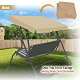 BenefitUSA Outdoor Patio Swing Canopy Replacement Porch Top Cover for Seat Furniture (77''x43'', Beige)