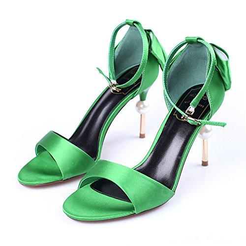Tacchi Papillon Satin Perle Alti GTVERNH 9Cm Con Summer Sandali Sottile Scarpe Fibbie Tacco green 6WAnxnT