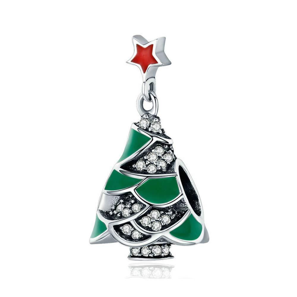 Reiko Sapin de Noël 925 Argent Charms Bricolage Perles Pour Filles, Cadeau De Noël Pour Femme Fille, Coffrets Cadeaux, Sans Nickel Cadeau De Noël Pour Femme Fille