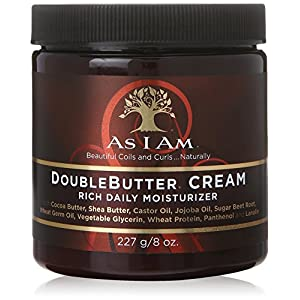 As I Am Double Butter Cream – 8 Ounce – Rich Daily Moisturizer – Soft and Shiny Curls and Coils – Repairs Split Ends – Strengthens Hair – Enriched with Pro-Vitamin B5