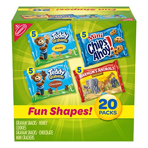 Nabisco Fun Shapes Cookie & Cracker Mix, Variety Pack with Teddy Grahams, Chips Ahoy! Cookies & Barnum