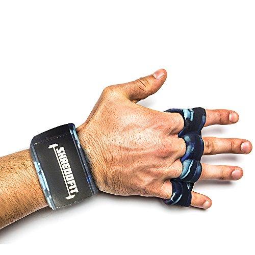 ShreddFit WOD Gym Gloves, Extra Small, Blue Camouflage