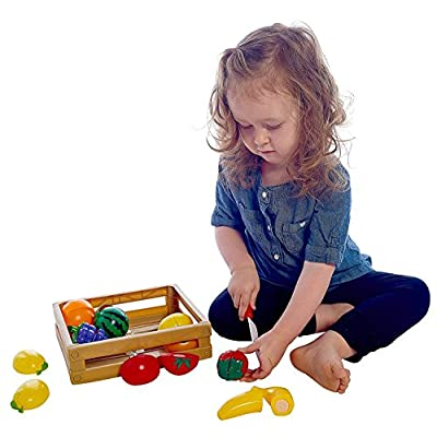Liberty Imports 20 Pcs Kitchen Cutting Fruits Crate Pretend Food Playset: Toys & Games