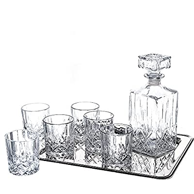 Klikel 8-piece Ingrid Whiskey Drinkware Barware Drink Set With 6 Crystal Double Old Fashioned Glasses, Decanter, And Silver-plated Rectangular Tray