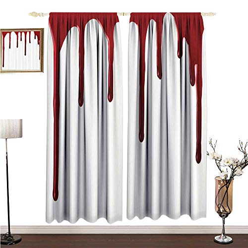 Anshesix Printed Curtain Bloody Flowing Blood Horror Spooky Halloween Zombie Crime Scary Help me Themed Illustration W120 xL72 Bedroom Curtain ()