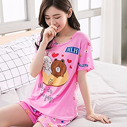 SaveStore Summer women Pajamas Set Send Goggles Short Sleeve Night gown Cartoon Cute Sleepwear suit Girl