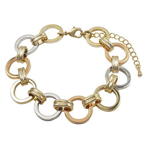 7' Open Link Bracelet - GRACE HARPER Tri-color Finish Open Circle Link Bracelet, 7'' with 2'' Extender