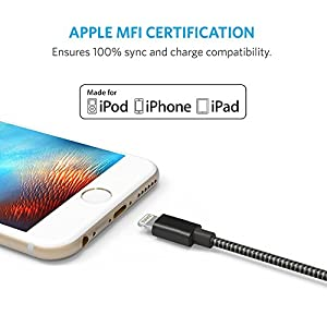Anker 3ft Nylon Braided USB Cable with Lightning Connector [Apple MFi Certified] for iPhone X / 8/8 Plus / 7/7 Plus / 6/6 Plus / 5s, iPad Pro Air 2 and More (Space Gray)
