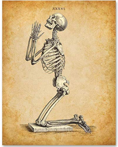 Praying Skeleton - 11x14 Unframed Art Print - Unique Gothic Decor -