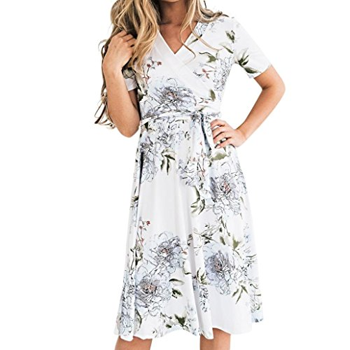 Clearance! Cuekondy Women Summer Party Beach Mini Dresses Casual Boho Floral V Neck Short Sleeve Swing Dress Sundress (White, XL) by Cuekondy_Women Dresses