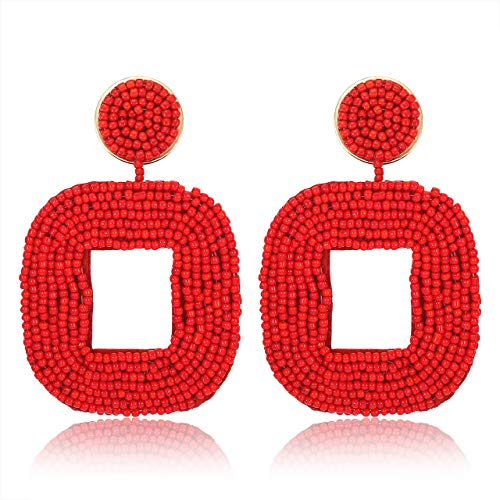 boderier Beaded Drop Earrings Bohemian Beaded Square Dangle Statement Earrings (Red)
