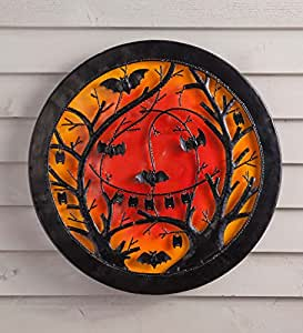 Indoor Outdoor 3D lighted Halloween Jack o Lantern Recycled Oil Drum Lid Wall Art 22.5 Dia x 1.5 D
