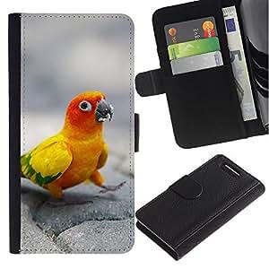 Sony Xperia Z3 Compact / Z3 Mini (Not Z3) - Dibujo PU billetera de cuero Funda Case Caso de la piel de la bolsa protectora Para (Happy Parrot)